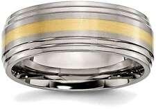 Titanium Ridged Edge w/ 14K Yellow Gold Inlay 8mm Brushed/Polished Band Ring