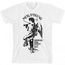 Neil Young Angel Fiddle Live At Carnegie Hall Men's White T-Shirt 2XL