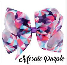 Jojo Siwa 5 Inch Mosaic Grosgrain Ribbon Hair Bow Clip - MOSAIC PURPLE