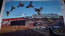 TRAVIS PASTRANA #199 SIGNED 12x18 ACTION PHOTO- COA- 360 - MID AIR