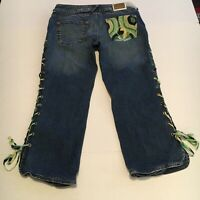 Baby Phat Womens Jeans Juniors Distressed Blue Denim Crop Capri Pants 7