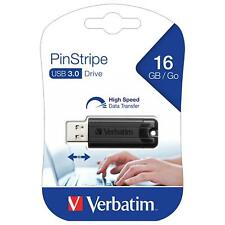 Verbatim 16GB Pinstripe USB Stick 3.0 Flash Drive Memory Medium