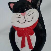 Cat Kitty Kitten Shelf Sitter Feline Smiling Black White Stoneware Distressed