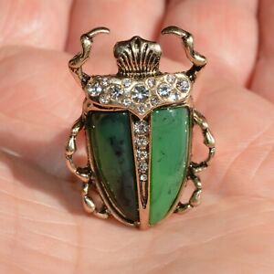 Art Deco Beetle Ring Green Stone Scarab Gold Insect Vintage Style Lady Gift UK