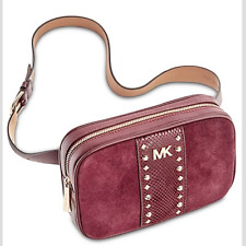 🌺🌹 Michael Kors Studded Fanny Pack  Maroon-Gold S/M