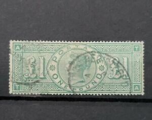 GB QUEEN VICTORIA SG 212 £1 GREEN FINE USED.