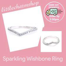 Genuine PANDORA Sparkling Wishbone Ring Size 50 - 196316CZ