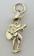 Sterling Silver Mexican Cowboy With Guitar Charm Pendant