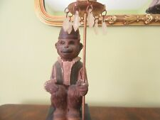 """Collectible Monkey Candlestick, Monkey with Fez hat sitting holding candle 10"""""""