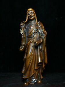 Collect natural Boxwood carved Long eyebrow arhat Statue figurines buddha monk