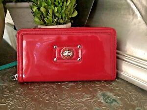 Marc By Marc Jacobs Tomato Red Patent Leather Full Zip Around Wallet Clutch
