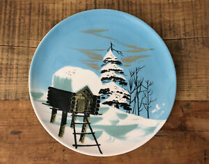 Vintage Matthew Adams Pottery Large Plate Alaska Log Cabin MCM #161a
