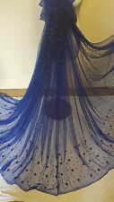 """1M  new royalblue  PEARLS BEADED  boarder  BRIDAL TUULE FABRIC 58"""" WIDE"""