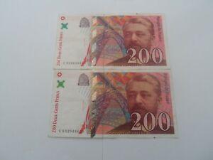 lot de 2 billets 200 francs eiffel 1996 c.032/c.028