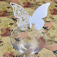 Decorations New 10 Pcs/Set Butterfly Place Escort Wine Glass Paper Card