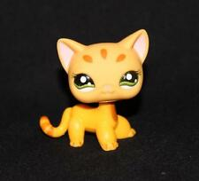 Littlest Pet Shop LPS Orange SHORTHAIR CAT #1377 Green Eyes RARE Striped Yellow