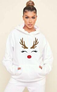 Christmas Gift Reindeer Face Hoodie Hoody Ladies Men Funny Xmas Present Cute