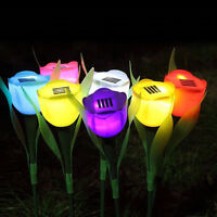 Outdoor Solar Powered Tulip Flower LED Light Yard Garden Path Way Landscape Lamp