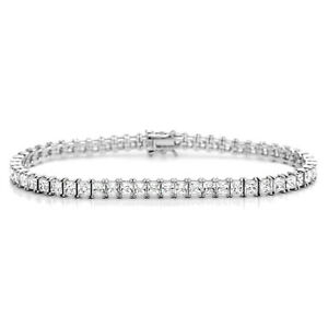 Men Women CZ Princess Cut Rhodium Plated Silver Tennis Bracelet / Free Gift Box