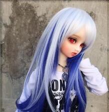 """7-8"""" hair 1/4 BJD long wig mini super dollfie MSD white blue AOD DOD DK DZ DL AF"""