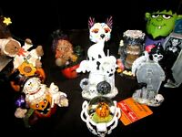 13 NEW Halloween Figures Witch Frankenstein Black Cat Spooks Water Globe Candle