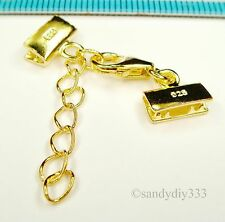 1x 14K GOLD plated STERLING SILVER LEATHER RIBBON END CLIP LOBSTER CLASP G156