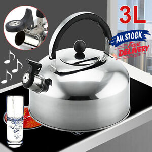 3L Teapot Stove Whistling Picnic Stainless Steel Kettle Top Camping Tea ACB#