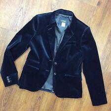 J. Crew Women's Sz 2 Dark Blue Velvet Schoolboy Blazer Suit Jacket NEW