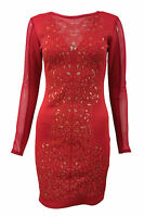 Ladies Womens Embossed Floral Print Mesh Slim Effect Bodycon Dress Size 8-14