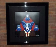 "Blue Dog ""Bears a Resemblance"" by George Rodrigue Paint pen signed AP- framed"