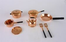 Dollhouse Miniature Metal 10 Pc Copper Tone Pots and Pans Set, G6107