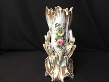 Antique Old Paris 11&1/2 Vase White With Flowers