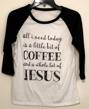 A Little Coffee and a Whole Lot of Jesus Women's Coffee Vinyl Shirt Tees Sz S