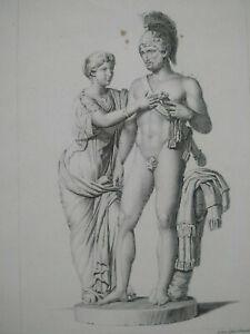 Gravure ancienne curiosa XIXème Venus et Mars par Vauthier et Martinet estampe