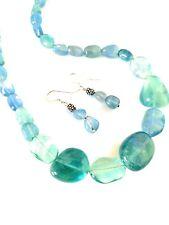 Sterling Silver Designer Fluorite Necklace & Earrings Set