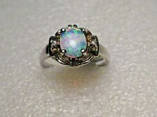 Silver Plated Created Opal Ring, Clear Stones, Size 6.5., 7mm by 5.7mm Oval