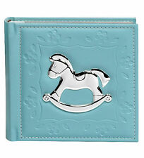 BLUE BABY BOY MEMORY BOOK PHOTO ALBUM WITH SILVER ROCKING HORSE 80 x 6x4 (10x15)