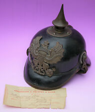 More details for original ww1 leather pickelhaube, german prussian spike helmet, true war momento