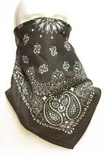 Black Paisley fleece lined bandana motorcycle skiing face mask