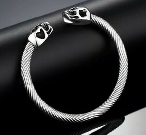 High Quality 316L Stainless Steel Skull Cuff Bangle in Black or Silver