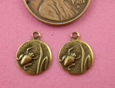 ANTIQUE BRASS FROG CHARMS 10MMX12MM-12 PC(s)