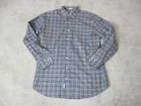 Peter Millar Button Up Shirt Adult Large Blue Brown Plaid Long Sleeve Casual Men