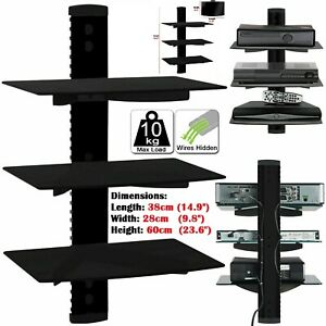 3 Tier Glass Floating Wall Mount Shelf DVD Player Sky Box Game Console Black New