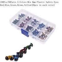 100Pcs / box 5 colores-Mix 8mm ojos de seguridad de plástico para peluche animal