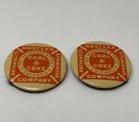Hostler Coal Coke Pinback Button Celluloid Chicago Lot of 2 Vintage 19-241