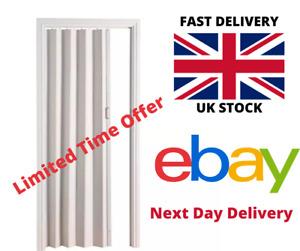 Folding Concertina PVC Door White Oak Effect Internal Sliding Top Quality 6mm