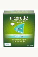 Nicorette Icy white Gum 2mg - 210 Pieces, Teeth Whitening (Stop Smoking Aid )