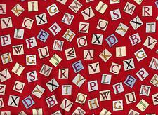 Michael Miller-FLOWER FAIRY Tessuto-Lettere dell'Alfabeto fate Rosso 100% COTONE