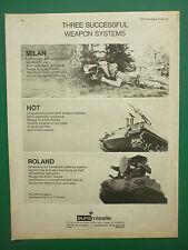 6/1974 PUB EUROMISSILE MILAN HOT ROLAND AEROSPATIALE MBB ARMEE ORIGINAL AD