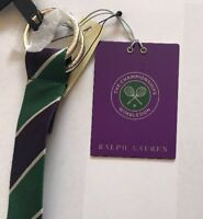 BNWT POLO RALPH LAUREN MEN'S BELT WIMBLEDON COLLECTION SILK GREEN/PURPLE MEDIUM